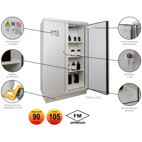 ARMOIRES DE SÉCURITÉ - EN 14470-1 & FM 105 minutes pour produits inflammables